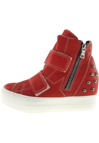 Maxstar 紅色 新款韩国鞋C2-Belt-TC時尚皮革布混合女紅色 US Women Size MA345SH32HDNTW_1
