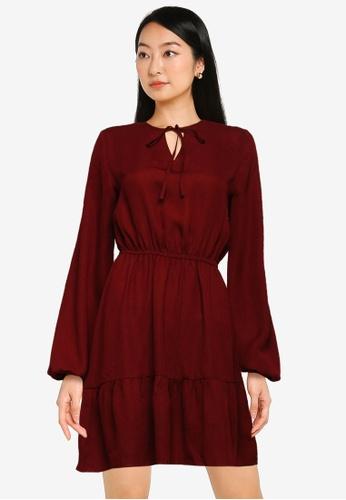 ZALORA BASICS red Tie Front Tiered Dress 27DCDAAC649B53GS_1
