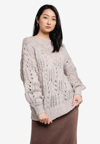 LOWRYS FARM beige Textured Sweater 5D4E5AA46044B3GS_1