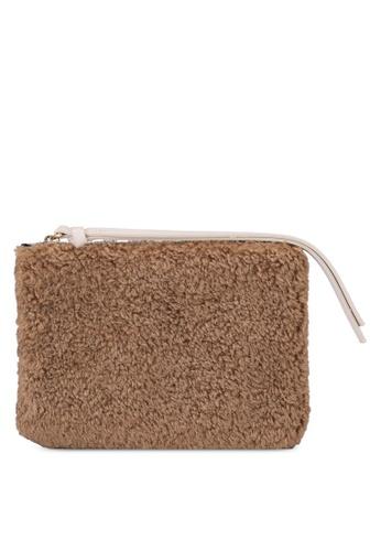 Mango brown Zippered Fur Purse CF5CAAC5D64523GS_1