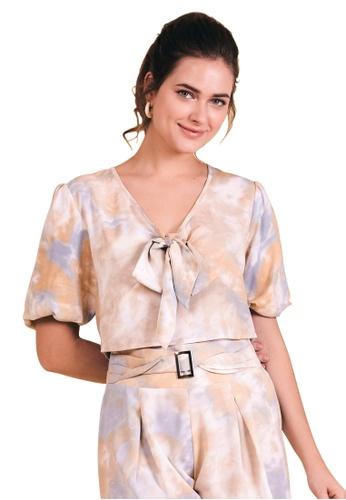 Kitschen brown Tie Front Puff Sleeve Top 3BD62AA79EE723GS_1