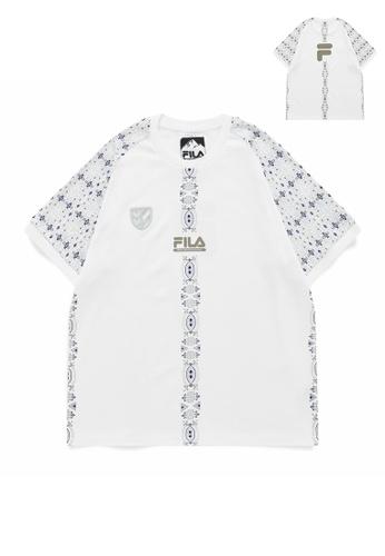 FILA white FILA x White Mountaineering Logo Ethnic Print Cotton T-shirt 44E88AA40682A2GS_1
