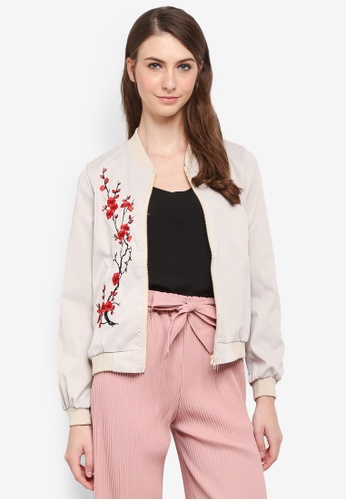 BYN beige Bomber Jacket with Embroidery 1E77AAA175F0CAGS_1