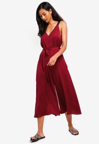 ZALORA BASICS red Basic Oversized Jumpsuit With Tie 5BB65AA6E05FCDGS_1