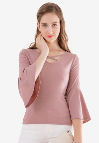 Eyescream pink Cross Front Flare Sleeves Top D2275AAAD96F25GS_1