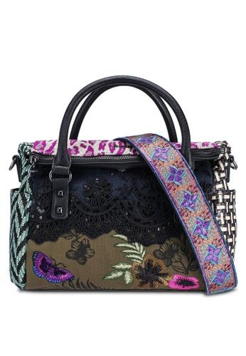 Desigual black Multi Patch Fabric Bag with Flap 8E7F7ACC8C2A74GS_1
