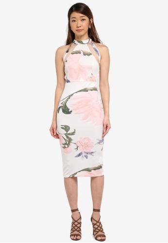 AX Paris white Floral Mesh Bodycon Dress 6C4BAAAA5FD480GS_1