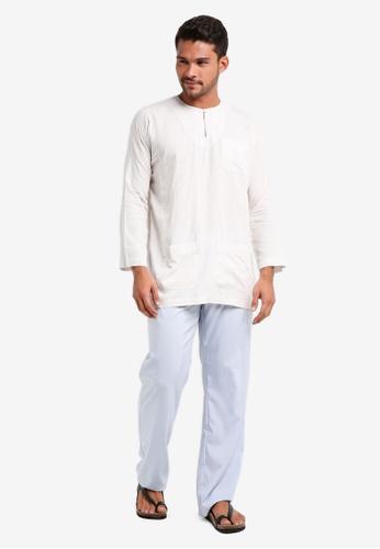 Lubna white and blue Checkered Baju Melayu Teluk Belanga B95EBAABBC1DF4GS_1