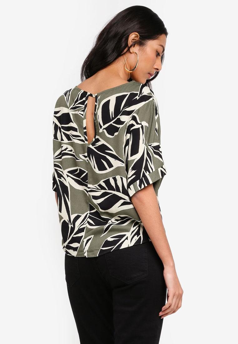 perkins dorothy green top tie print khaki leaf 7cfrrcw. Black Bedroom Furniture Sets. Home Design Ideas