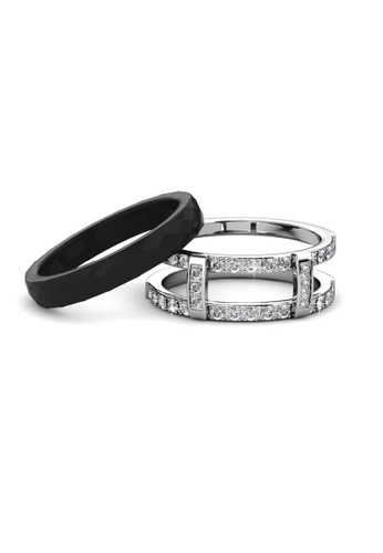 Her Jewellery multi Queen Ceramic Ring (Black) - Made with premium grade crystals from Austria 9E6CCACE108B57GS_1