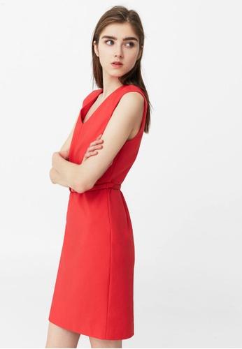 Mango red Belt Fitted Dress MA193AA24OYTMY_1