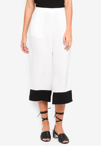 Something Borrowed white Contrast Panel Culottes CFDC3AA1C6ADCEGS_1