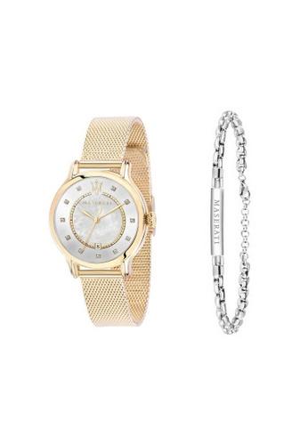 Maserati gold Epoca Quartz Watch R8853118502 Yellow Gold Metal Strap + Stainless Steel Bracelet JM10 BE905AC88FBBA4GS_1