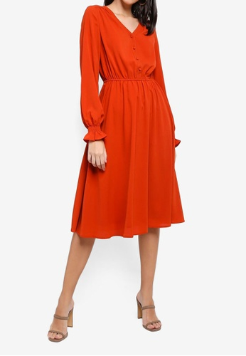 ZALORA orange Button Detail Long Sleeves Dress 720B1AA19BF600GS_1
