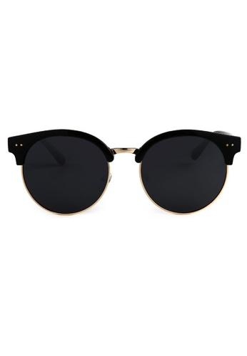 Kyfer's Eyewear & Essentials black Oversize Studded Clubmaster Sunglasses KY376AC84MDRSG_1