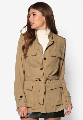 高領腰zalora 包包評價帶軍事風外套, 服飾, 服飾