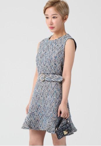 韓流時尚 人字紋無袖連衣裙 F41esprit 包07, 服飾, 及膝洋裝