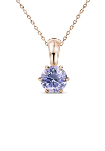 Her Jewellery purple and gold Birth Stone Pendant (June, Rose Gold) - Made with premium grade crystals from Austria EFE9AAC16BE3DBGS_1