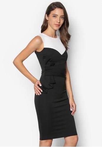 撞色褶藝連身裙, zalora鞋子評價服飾, 洋裝