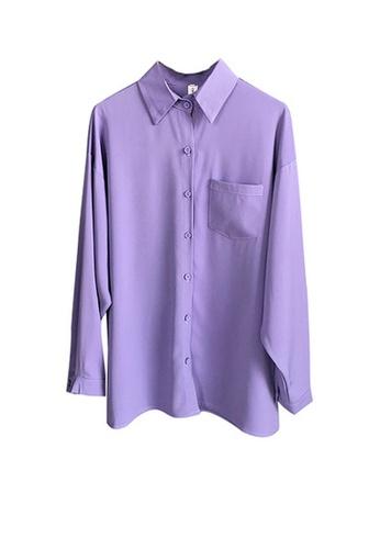 Twenty Eight Shoes purple VANSA Chiffon Long Sleeve Shirts  VCW-Sh316 38C2DAA7BA5559GS_1