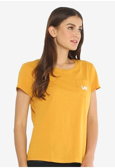 1f0cd73b3a Lee yellow Womens Short Sleeves Pocket Tee Round Neck CA7D1AA064EC81GS 1