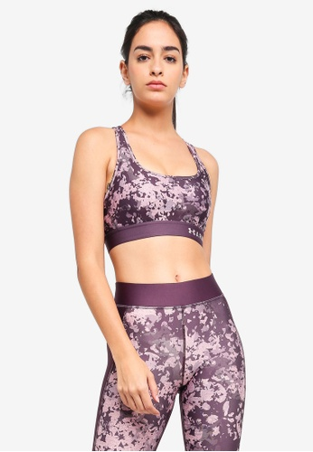 Under Armour purple Armour Mid Crossback Printed Bra 6061BUSBE2C504GS_1