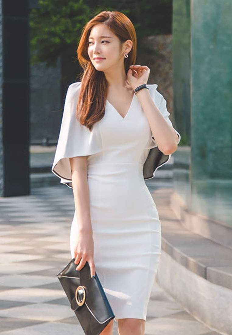 Elegant Dress Work S Choice white UA040315 Lady Sunnydaysweety Polyester White S 2017 qOSwFxpfI