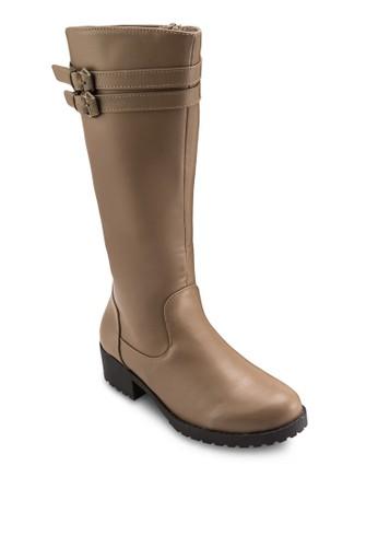 雙扣esprit台北門市環帶工業中筒靴, 女鞋, 靴子