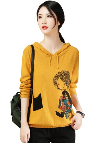 A-IN GIRLS yellow Cute Printed Hooded Sweater D23A9AA1A9CA9BGS_1