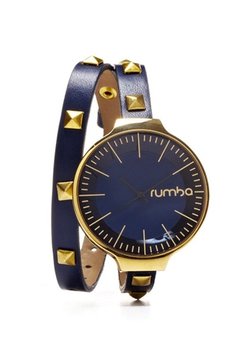 RumbaTime blue and gold Rumbatime Orchard Double Wrap Watch Midnight Blue RU023AC33MTYHK_1