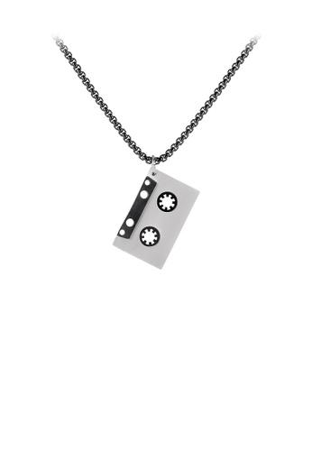 Glamorousky 銀色 時尚復古黑色錄音帶316L鋼吊墜配項鏈 70ED1ACB0DA9B6GS_1