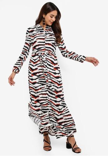 volume large purchase authentic fresh styles Petite Zebra Maxi Shirt Dress