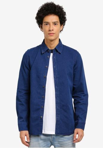 MANGO Man blue Slim-Fit Textured Chambray Shirt 6D1E2AAE4EDE42GS_1