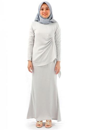 KAMDAR grey Ireena Drapes Baju Kurung Modern-Grey 67E71AA4213D28GS_1
