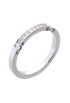 Buckle Chain Silver Ring with Artificial Diamonds for Women lr0016f