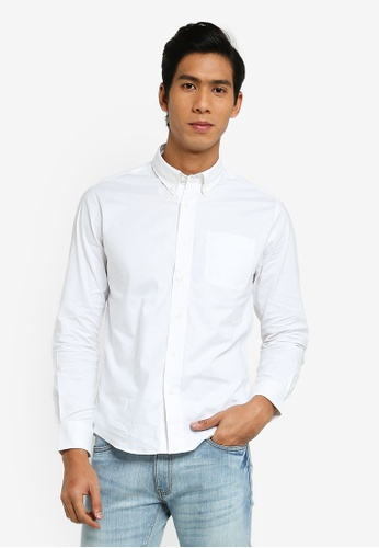 Electro Denim Lab white Stretch Oxford Shirt FB03FAAB7586F6GS_1