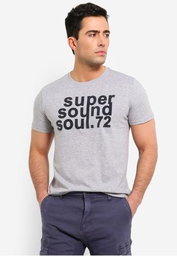 OVS 灰色 印花縲縈 And 棉 T恤 D222FAA28D4F4FGS_1