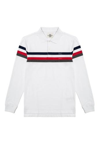 Kent and Curwen white Striped Detail Polo Shirt 9357DAA2FBFB92GS_1