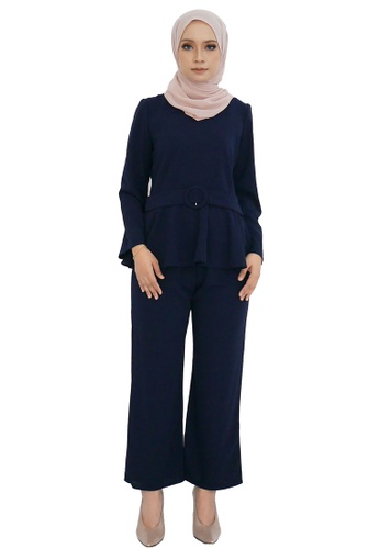 Bella Peplum Suit from ARCO in Blue and Navy