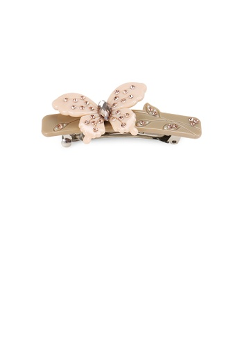 Glamorousky white Simple and Elegant Butterfly Gray Hair Slide with Cubic Zirconia C8934AC7377C4AGS_1