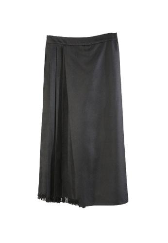 Giordano Ladies black Fringe Hem Pleated Culottes 067CCAA9ABEAB1GS_1