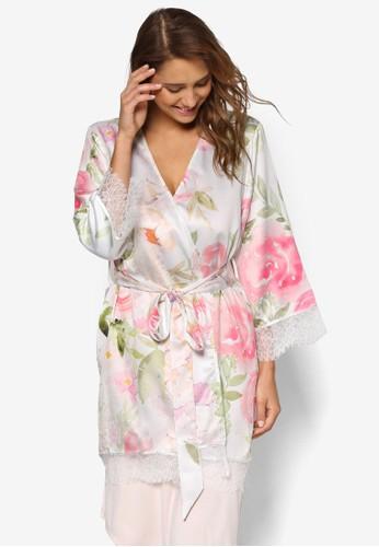 Fleur 印花蕾絲邊飾睡袍, 服飾,esprit 台北 睡袍