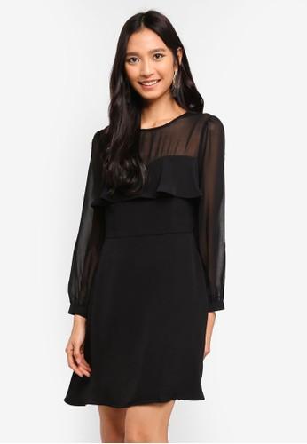 Preen & Proper black Sheer Yoke Fit And Flare Mini Dress DFA1FAA6DB80BAGS_1