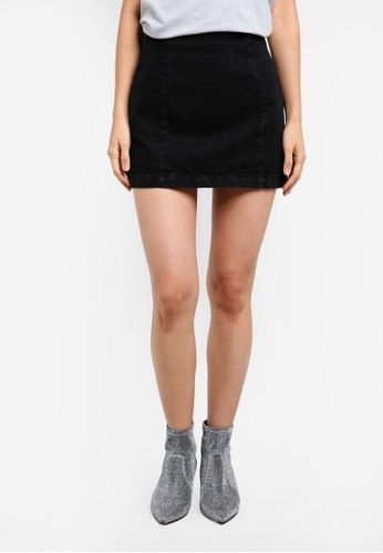 TOPSHOP black Petite Double Seam A-Line Skirt TO412AA0SD60MY_1