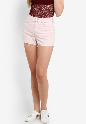 TOPSHOP pink MOTO Pink Raw Waist Denim Shorts TO412AA38GEFMY_1