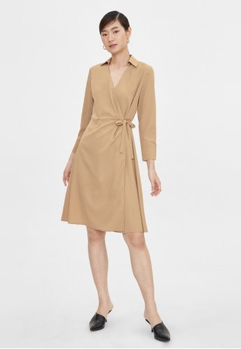 Pomelo beige Side Wrap A Line Dress - Beige 31DC0AA71C6282GS_1