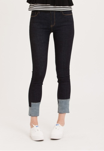H:CONNECT blue Hem Designed Skinny Jeans 333D0AA352D461GS_1