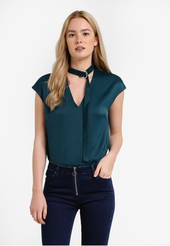Something Borrowed green Collar Detail V-neck Top CD652AA243C665GS_1
