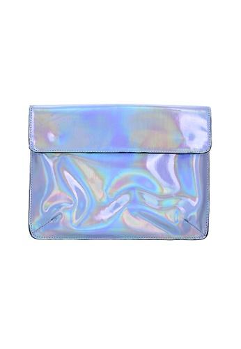 My Flash Trash silver Hologram Clutch Bag E9565AC6526A5AGS_1