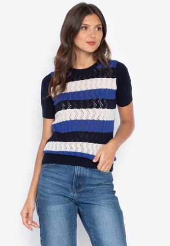 142b15ba48f87 Kamiseta navy Ebcelin Short Sleeves Round Neck Knitted Blouse  910BAAAAD7FFE9GS 1